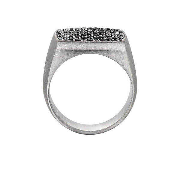 Brushed Cushion Pave Ring