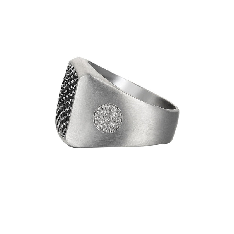 Mens Brushed Cushion Pave Ring