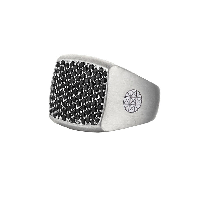 Brushed Cushion Pave Ring - Solid Silver