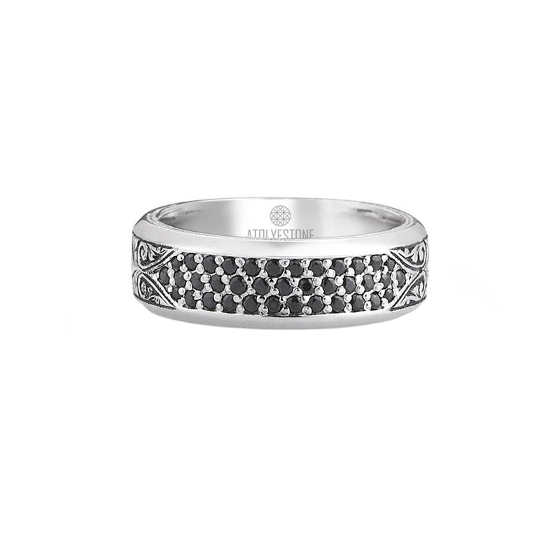 Classic Pave Band Ring - Solid Silver - Pave Black Diamond