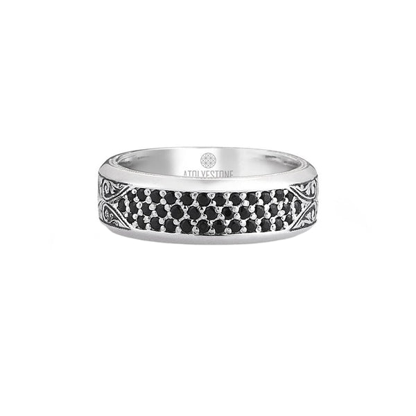 Classic Pave Band Ring - Solid Silver - Pave Cubic Zirconia