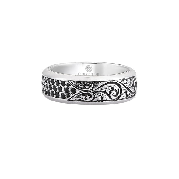 Mens Classic Pave Band Ring - Solid Silver