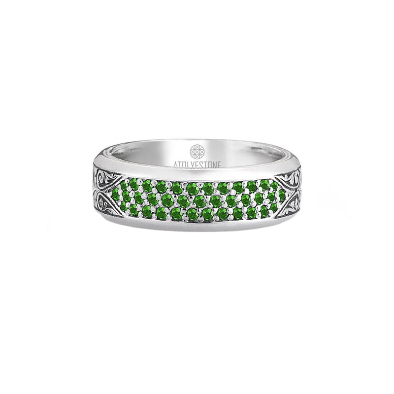Classic Pave Band Ring - Solid Silver - Pave Emerald