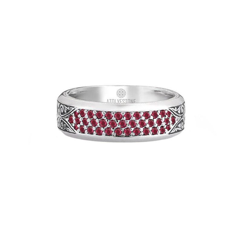 Classic Pave Band Ring - Solid Silver - Pave Ruby