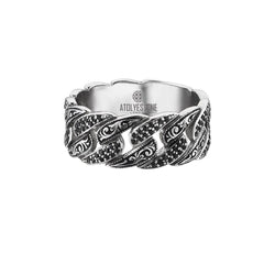 Classic Pave Chain Ring - Solid Silver - Pave Black Diamond