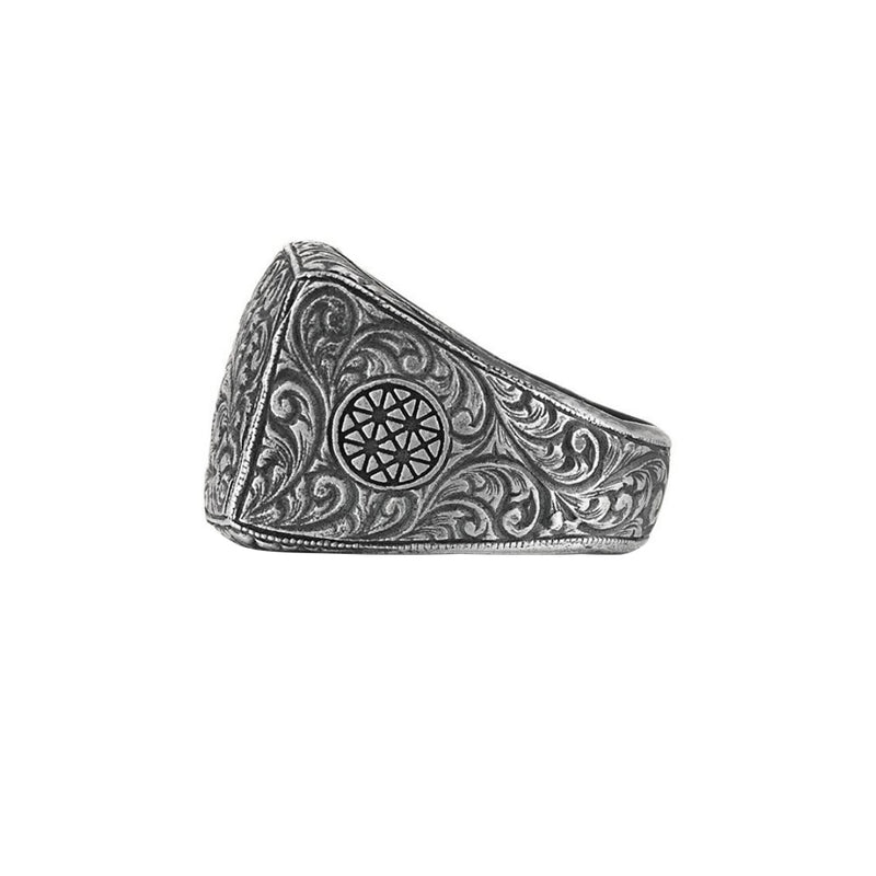 Mens Classic Ring - Aged Silver
