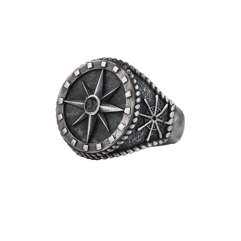 Compass Ring - Solid Silver - Aged Silver - Black Diamond