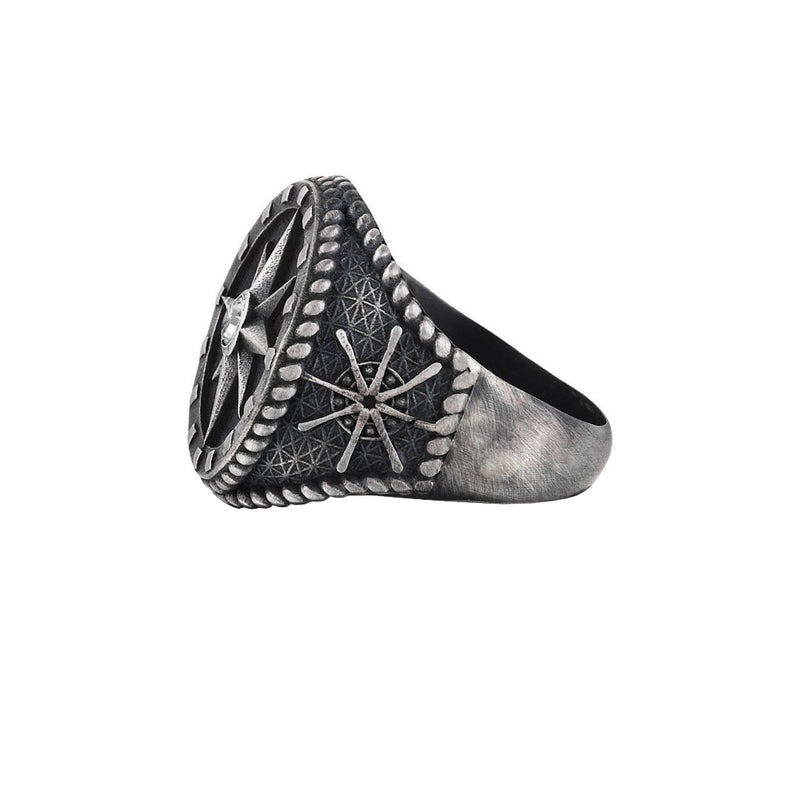 Compass Ring - Aged Silver