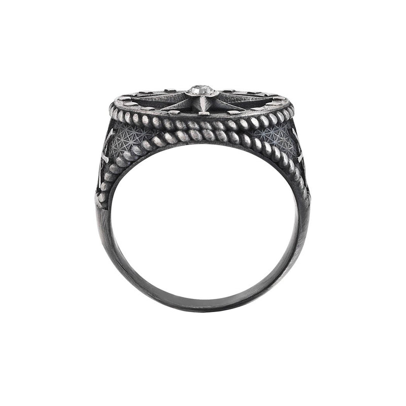 Mens Compass Ring - Aged Silver