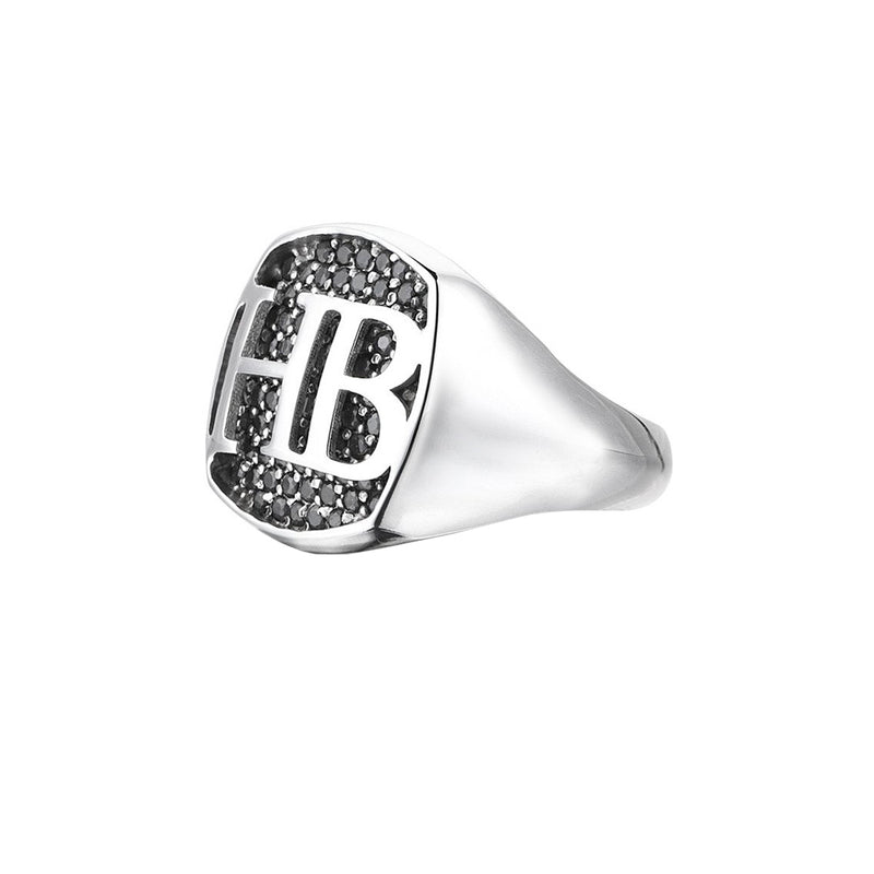 Cushion Pave Statements Ring - Solid Silver for Men
