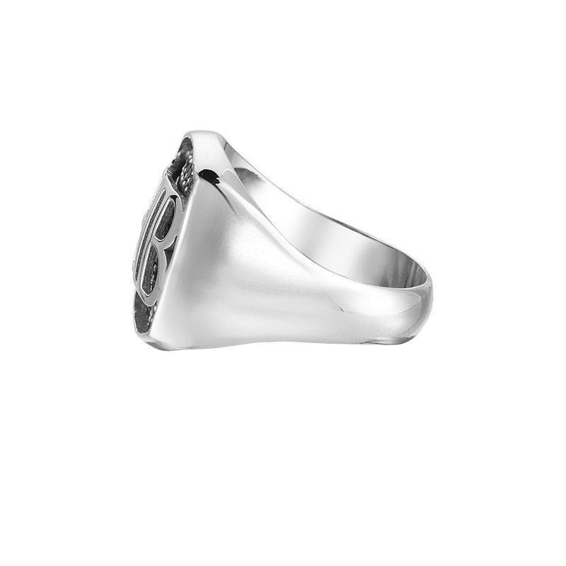Mens Cushion Pave Statements Ring - Solid Silver