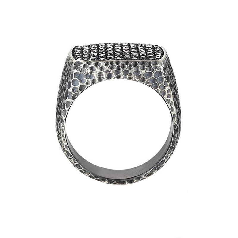 Hammered Cushion Pave Ring - Silver
