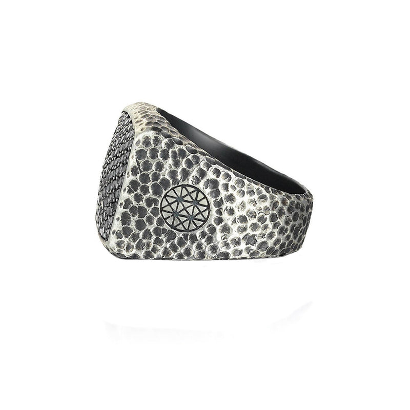 Hammered Cushion Pave Ring