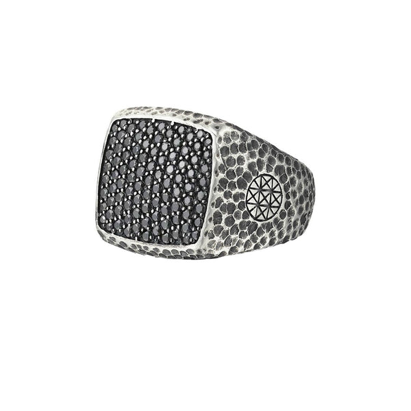 Hammered Cushion Pave Ring - Solid Silver - Pave Black Diamond