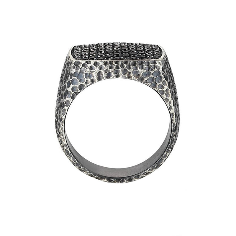 Hammered Pave Ring