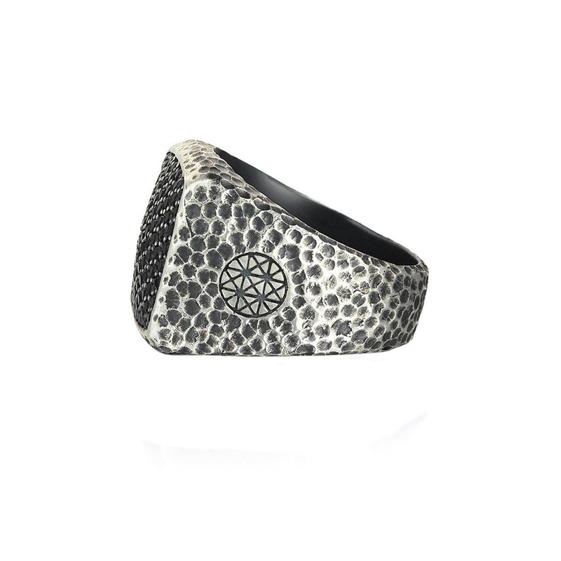 Hammered Cushion Pave Ring - Solid Silver