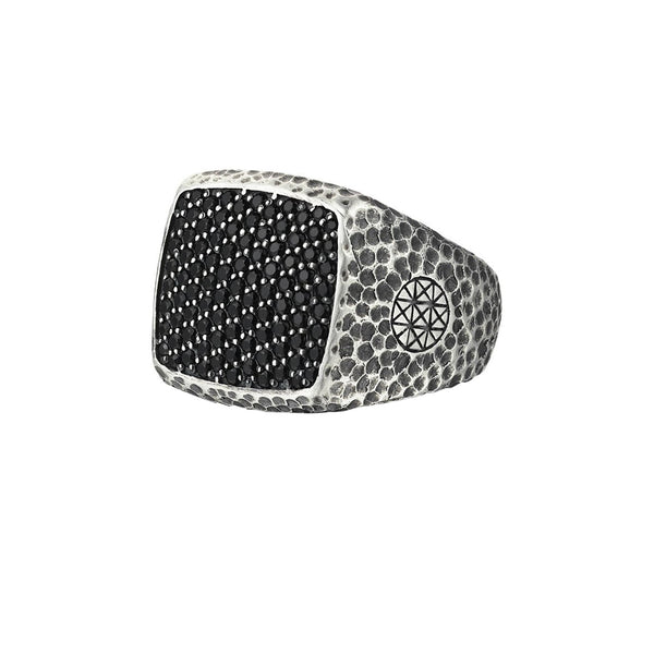 Hammered Cushion Pave Ring - Solid Silver - Pave Cubic Zirconia
