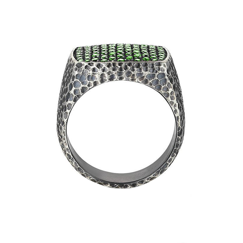 Hammered Pave Ring - Solid Silver