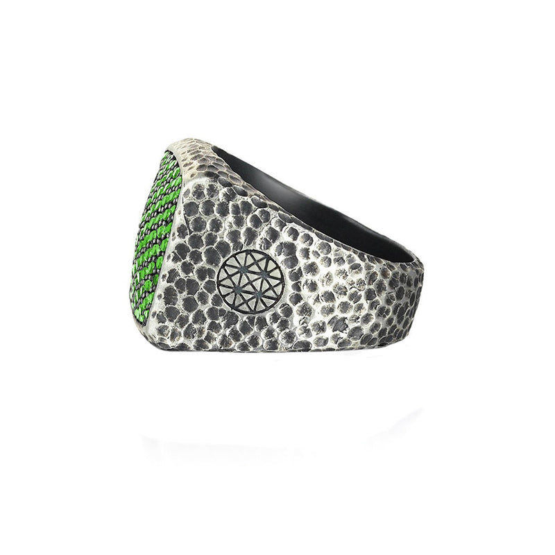 Mens Hammered Cushion Pave Ring - Solid Silver