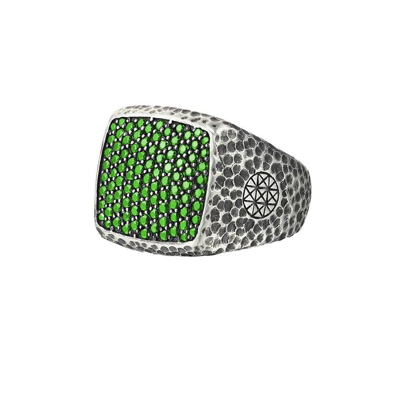 Hammered Cushion Pave Ring - Solid Silver - Pave Emerald