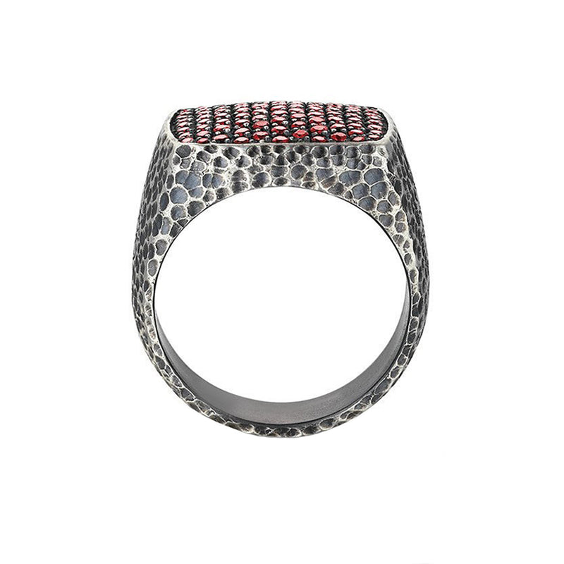 Hammered Cushion Pave Ring - Ruby