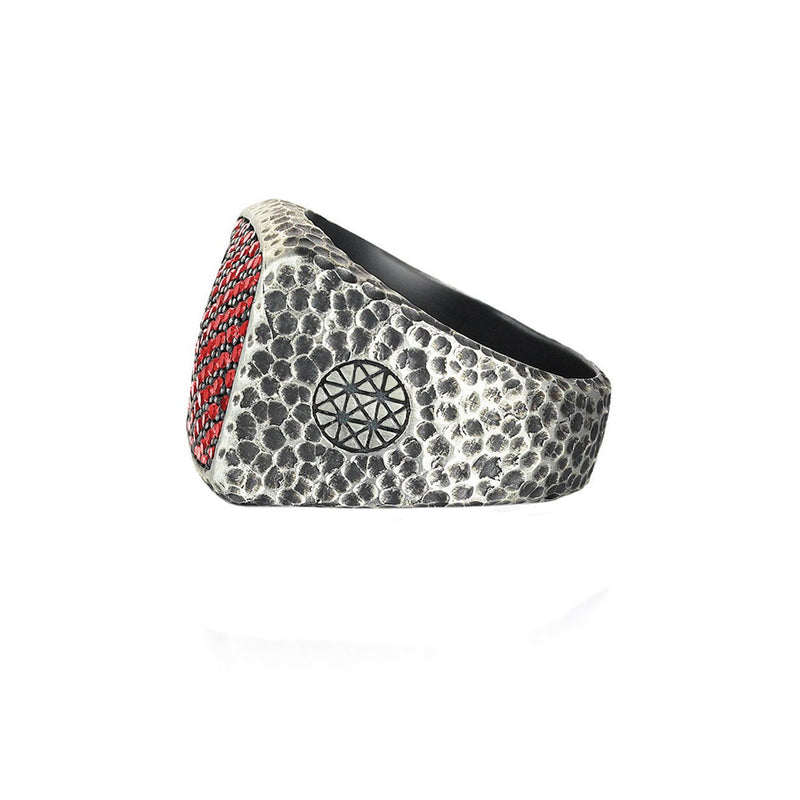 Hammered Cushion Pave Ring for Men