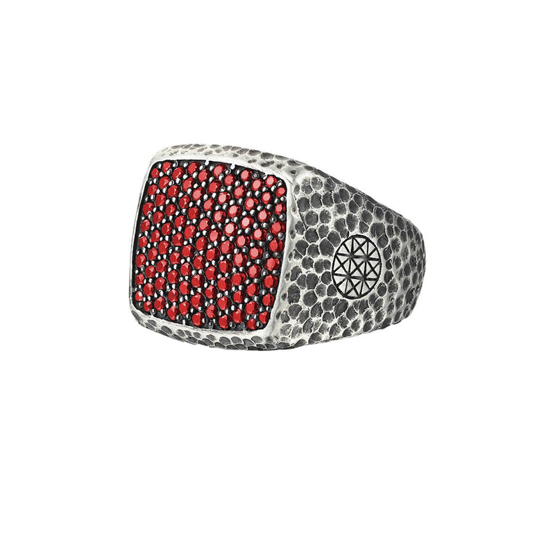Hammered Cushion Pave Ring - Solid Silver - Pave Ruby