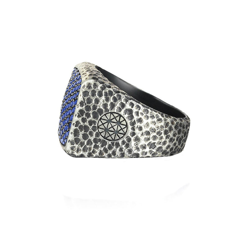 Hammered Cushion Pave Ring by Atolyestone