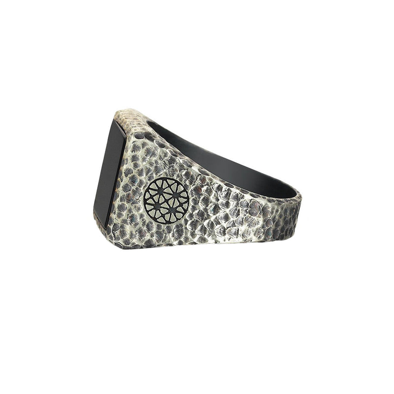 Hammered Square Onyx Ring for Men