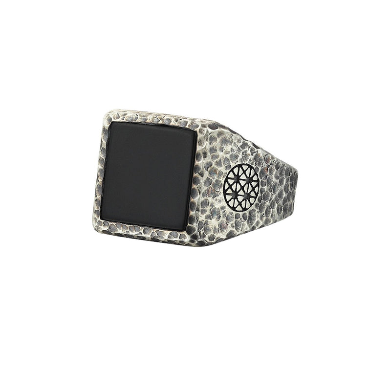 Hammered Square Onyx Ring - Solid Silver