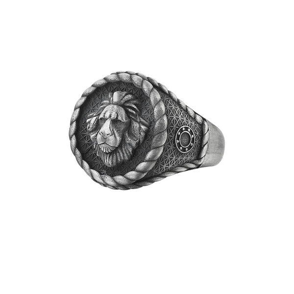 Imperial Leo Ring - Aged Silver