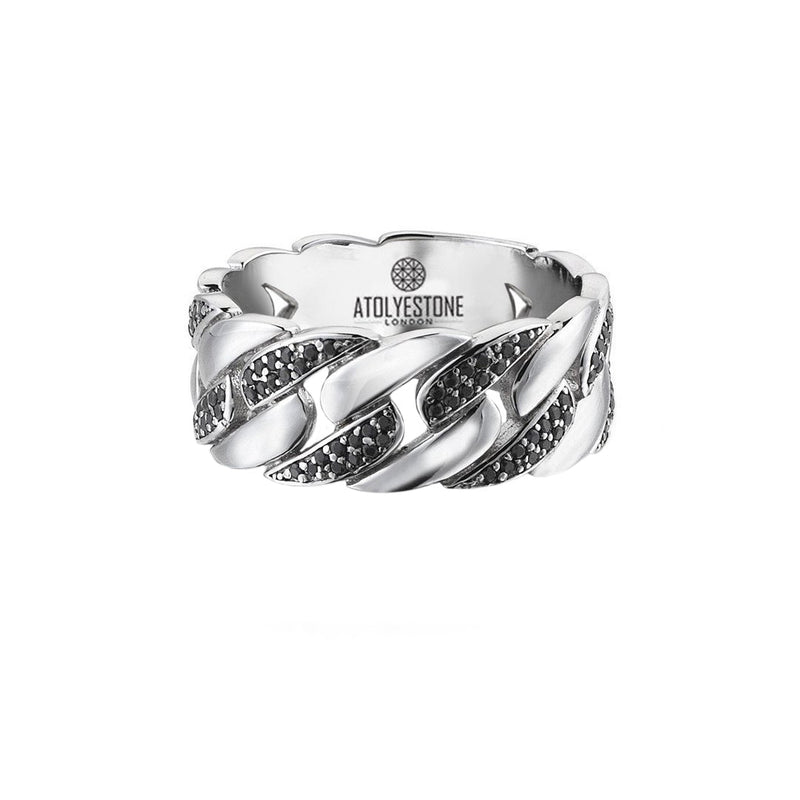 Pave Chain Ring - Solid Silver - Atolyestone