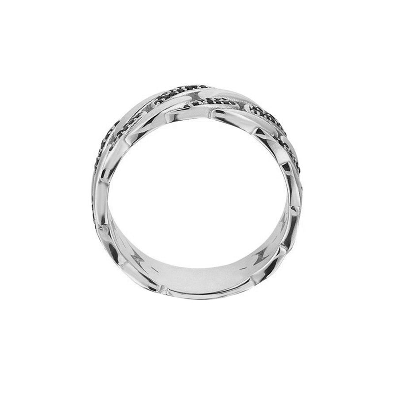Pave Chain Ring - Solid Silver