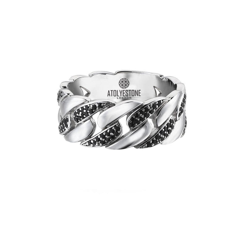 Pave Chain Ring - Solid Silver - Pave Cubic Zirconia