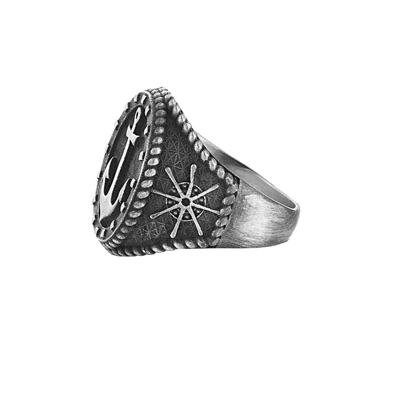 Mens Sailor's Anchor Ring - Solid Silver