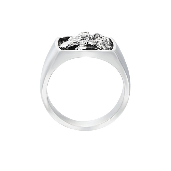 Mens Wolf Ring - Solid Silver