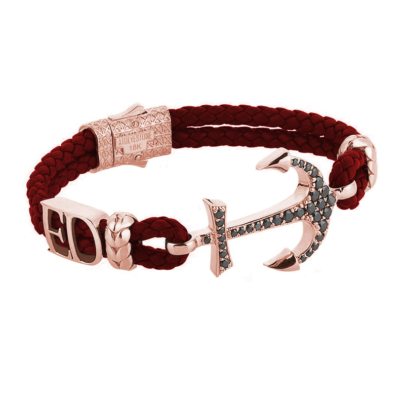 Statement Anchor Leather Bracelet in Solid Rose Gold