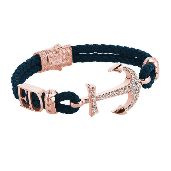 Statement Anchor Leather Bracelet in Solid Rose Gold - Navy Leather - White Diamonds