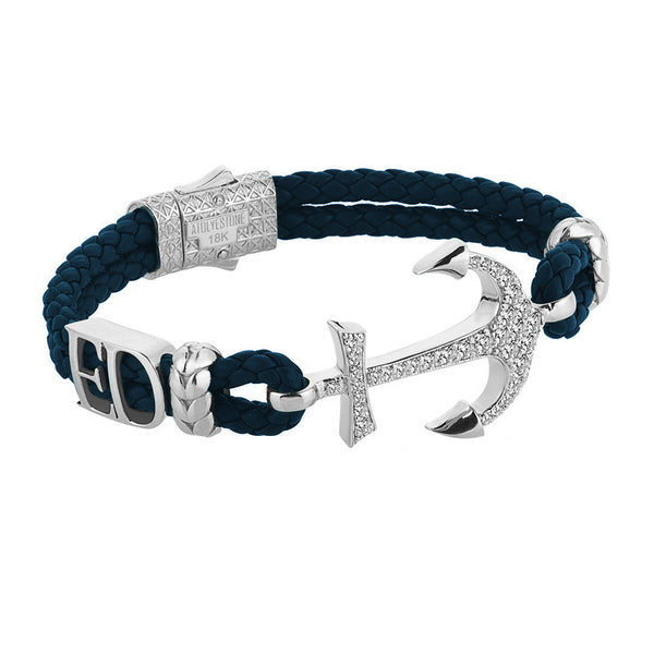 Statement Anchor Leather Bracelet in Solid White Gold - Navy Leather - White Diamonds