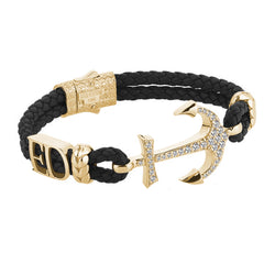 Statement Anchor Leather Bracelet in Solid Yellow Gold - Black Leather - White Diamonds