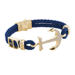 Statement Anchor Leather Bracelet in Solid Yellow Gold - Blue Leather - White Diamonds