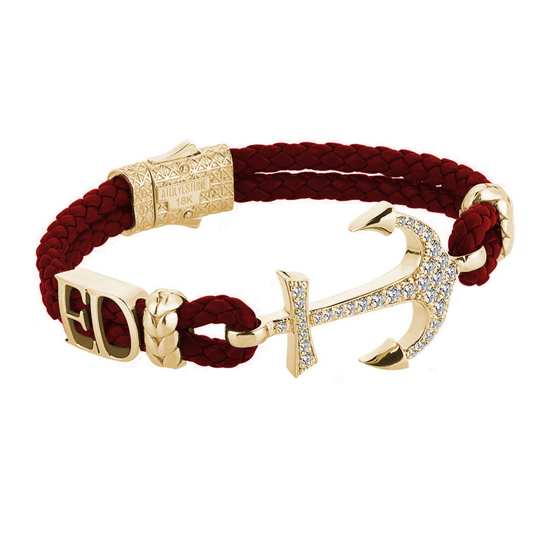 Statement Anchor Leather Bracelet in Solid Yellow Gold - Dark Red Leather - White Diamonds