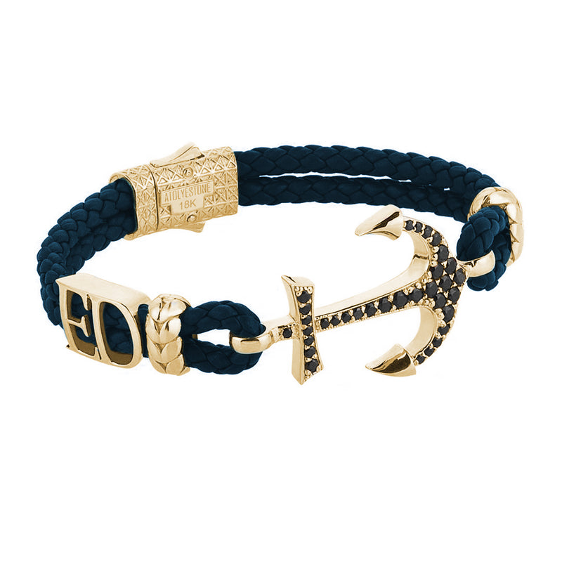 Statement Anchor Leather Bracelet in Solid Yellow Gold