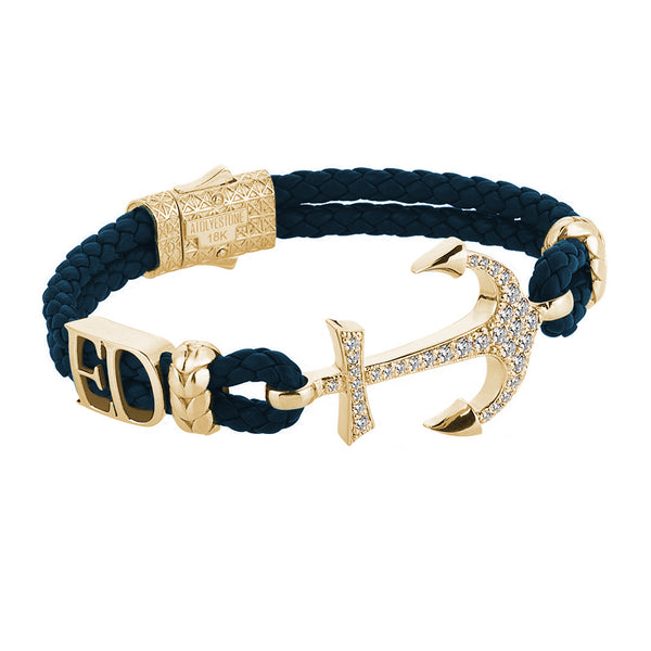 Statement Anchor Leather Bracelet in Solid Yellow Gold - Navy Leather - White Diamonds