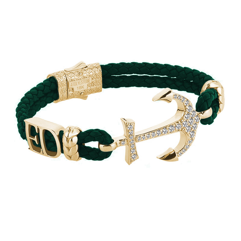 Statement Anchor Leather Bracelet in Solid Yellow Gold - Dark Green Leather - White Diamonds