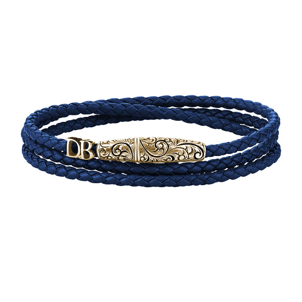 Statements Classic Wrap Leather Bracelet - Yellow Gold - Blue Nappa