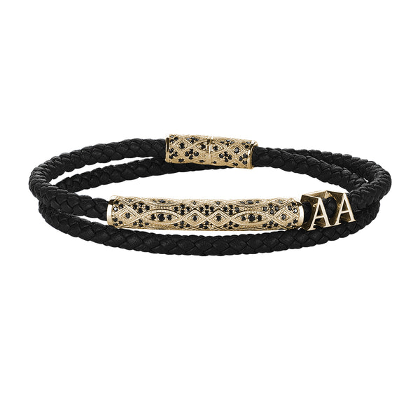 Statement Streamline Premium Wrap Bracelet - Black Leather - Yellow Gold