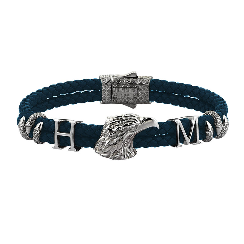 Statements Eagle Leather Bracelet - Navy Leather - Gunmetal