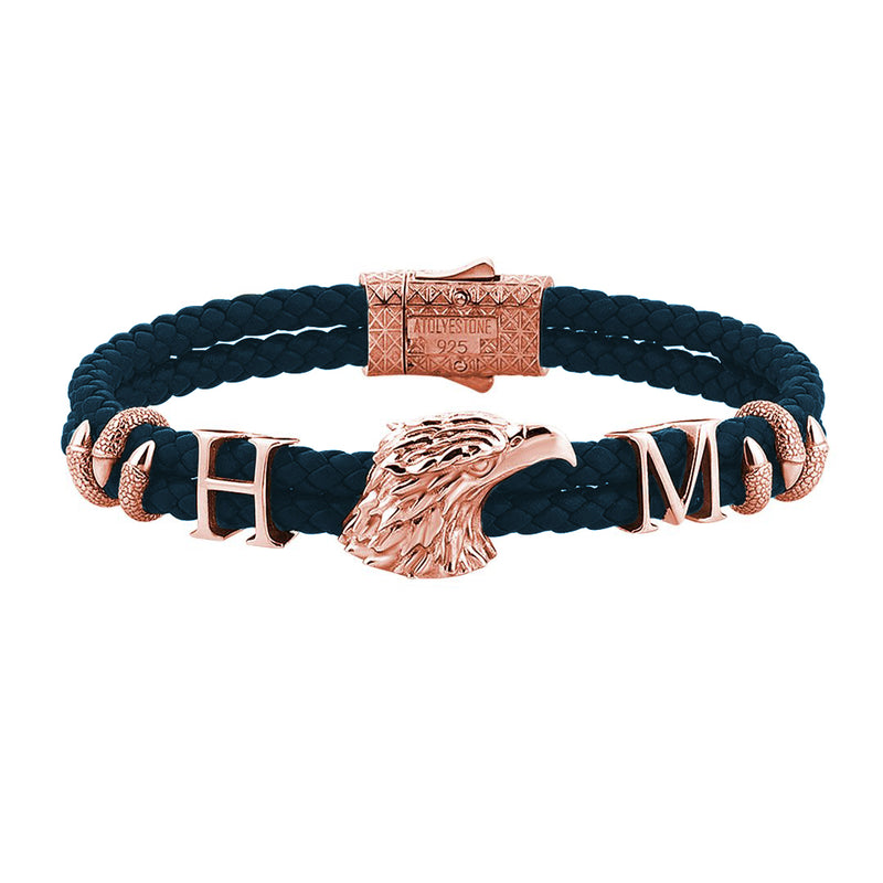 Statements Eagle Leather Bracelet - Navy Leather - Rose Gold