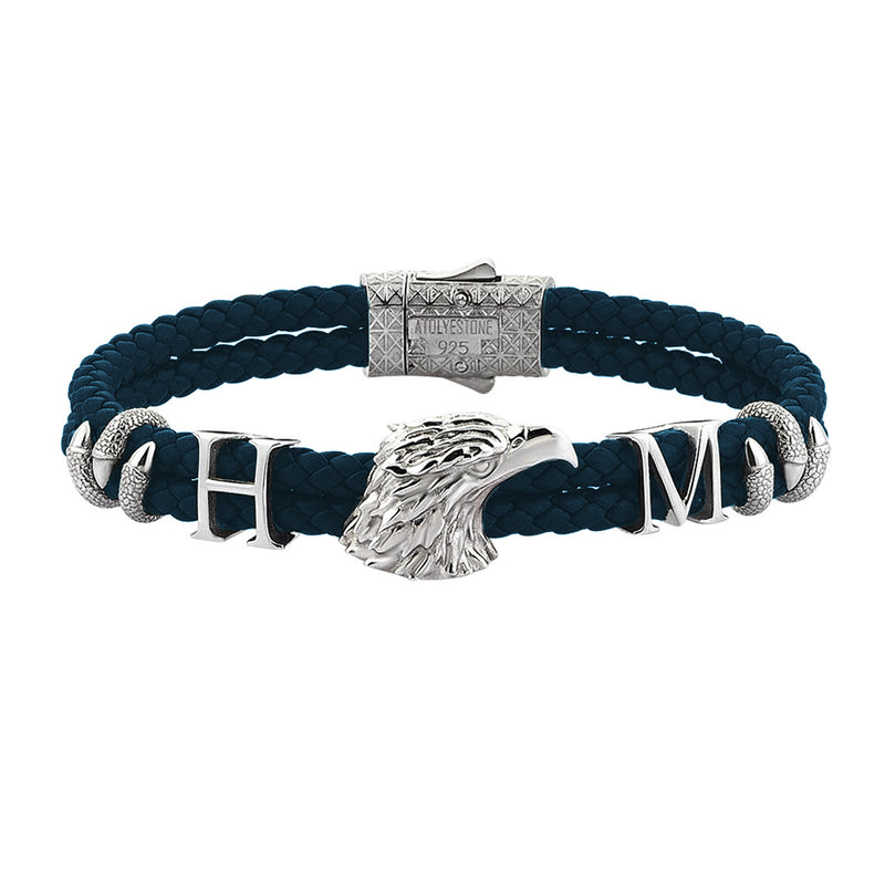 Statements Eagle Leather Bracelet - Navy Leather - Silver